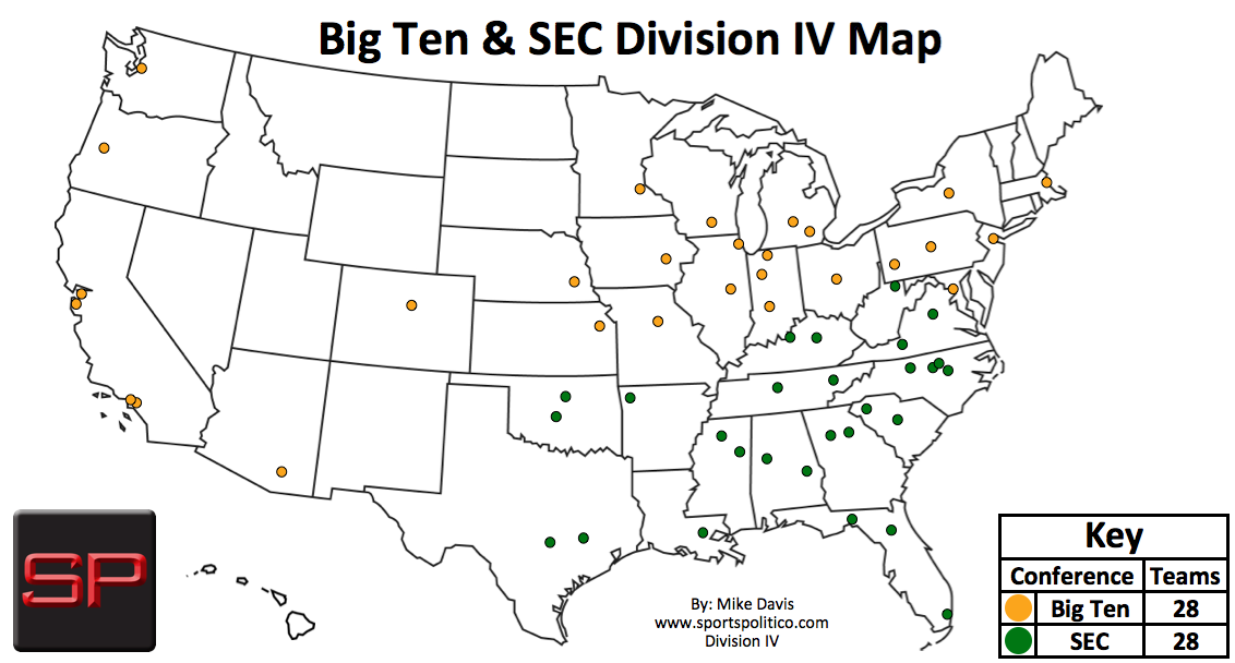 SP #5 USA Map SEC and Big Ten
