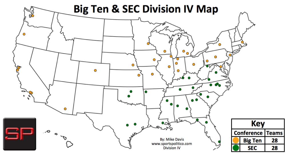 SP #5 USA Map SEC and Big Ten