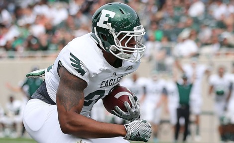 EAST LANSING, MI - SEPTEMBER 20:  Tyreese Russell #88 of the Eastern Michigan Eagles scores on a 9 yard pass during the fourth quarter of the game against the Michigan State Spartans at Spartan Stadium on September 20, 2014 in East Lansing, Michigan. Michigan State defeated Eastern Michigan 73-14.  (Photo by Leon Halip/Getty Images)
